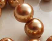 Glass Pearl Beads 10mm Round Dark Gold (Qty 15) Z-10P-DG