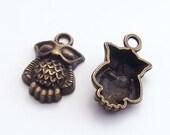 6 pcs Antique Brass Owl Charm 20x13mm Z-N1264-AB