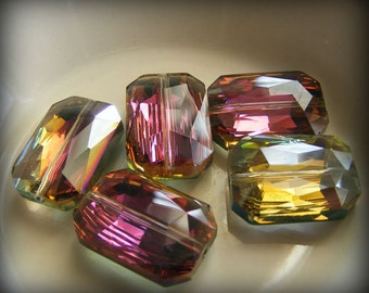 Rainbow AB Faceted Rectangles 20x14mm Crystal Beads (Qty 2) PH20x14REC-M