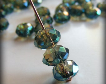 Faceted Rondelle Veridian Green 8x5mm Asian Crystal Bead (Qty 12) Z-8x5R-VG
