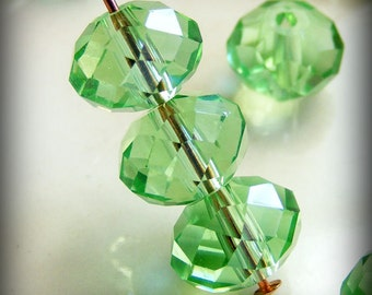 8x6mm Faceted Rondelles Crystal Beads Lime Green Light AB Abacus (Qty 12) PH8x6R-LLIME