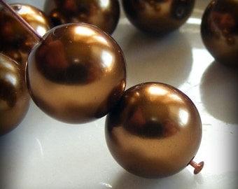 Glass Pearl Beads 12mm Round Bronze (Qty 12) Z-12P-BNZ
