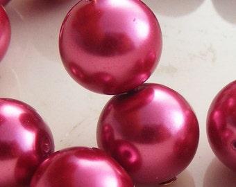 10mm Glass Pearl Beads Round Raspberry (Qty 15) Z-10P-RP
