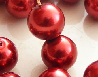 Glass Pearl Beads 6mm Round Rusty Red (Qty 25) Z-P6R-RR