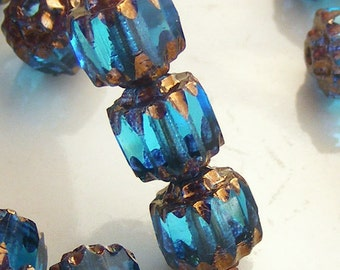 6mm Cathedral Beads Czech Glass Fire Polish Aqua with Gold (Qty 9) SRB-6FPC-A-G