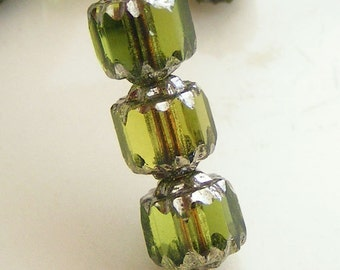 6mm Cathedral Beads Czech Glass Fire Polish Olive Green with Silver (Qty 12) SRB-6FPC-OG-S
