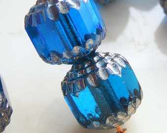 Czech Glass Cathedral Beads 10mm Fire Polish Aqua with Silver (Qty 6) SRB-10FPC-A-S