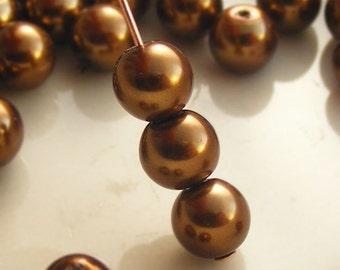6mm Glass Pearl Beads Round Bronze (Qty 25) Z-6P-BNZ