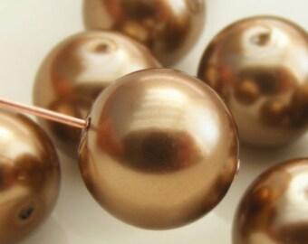 Glass Pearl Beads 12mm Round Light Bronze (Qty 12) Z-12P-LB