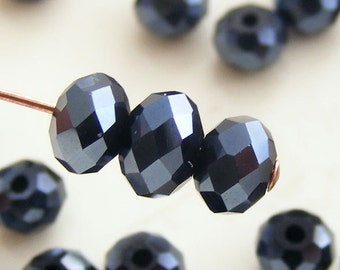 6x4mm Crystal Rondelles Faceted Beads Jet Black Luster Abacus (Qty 15) MW-6x4R-JB
