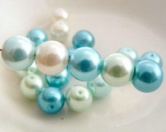 8mm Glass Pearl Beads Round  Mermaid's Blush Designer Pearl Mix (Qty 20)