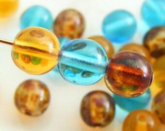 Druk Bead Mix Czech Glass Round Transparent Tiger Lily Glass Bead Assortment 6mm (24 pk)