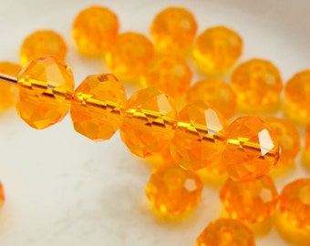 6x4mm Crystal Rondelles Faceted Beads Transparent Mandarin Orange (Qty 15) MW-6x4R-MO