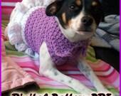 Crochet Collared Dog Dress Pattern PDF Extra Small, Small, Medium Sizes