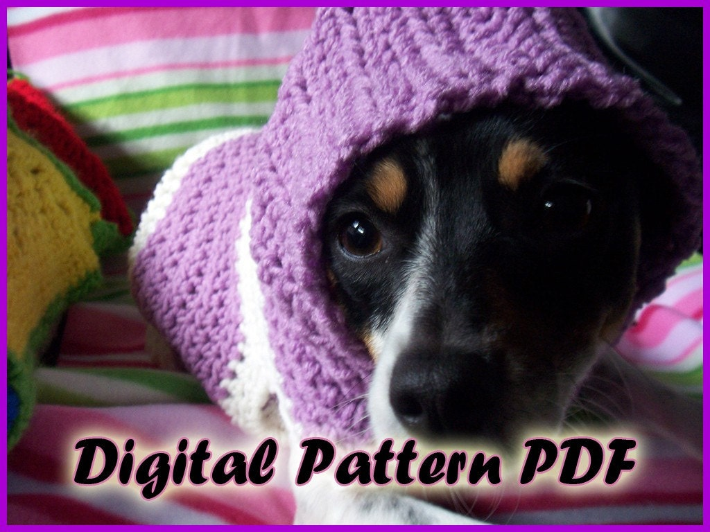 Free crochet pattern dog hoodie dancox for crocheted hooded dog sweater pattern pdf small and medium bankloansurffo Images