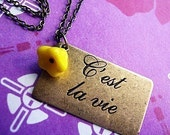 C'est La Vie French  Flower Charm Necklace