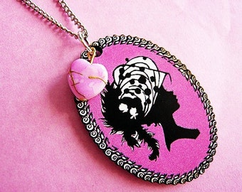 Fuchsia Pink Lady Cameo Necklace