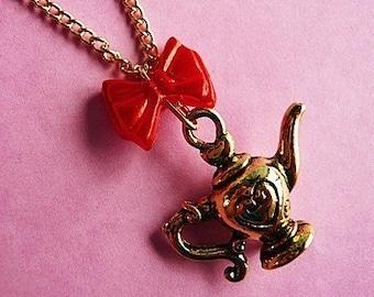 Cute Retro Teapot Charm Necklace