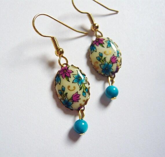 Petite Floral Cameo Earrings