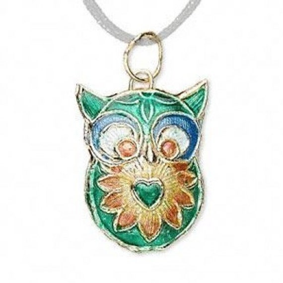 Green Owl Charm Necklace