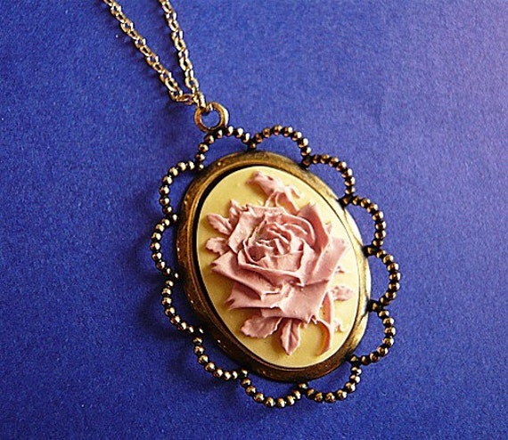 Baby Pink and Yellow Rose Flower Cabochon