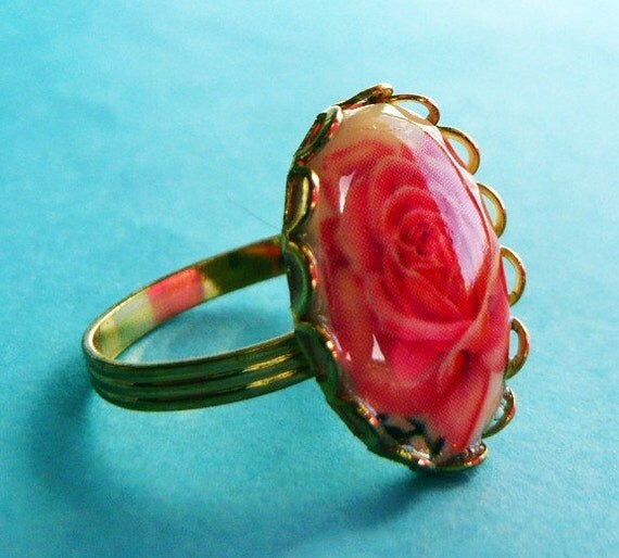 Limoges Rose Cameo Ring