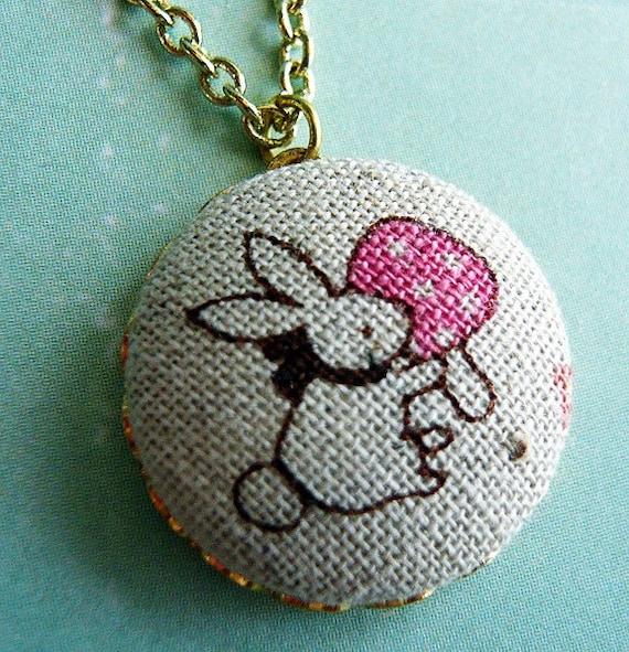 Bunny and Mushroom Retro Necklace