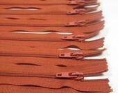 12 YKK Zipper 10 inch  25 cm Paprika Brown Destash