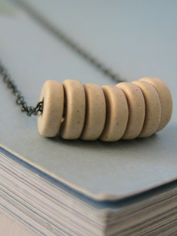 Lucky Seven - Nude - Mykonos Greek Ceramic Beads and Oxidized Sterling Silver Necklace