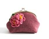 Floral Corsage Frame Purse - Medium - Geranium Pink