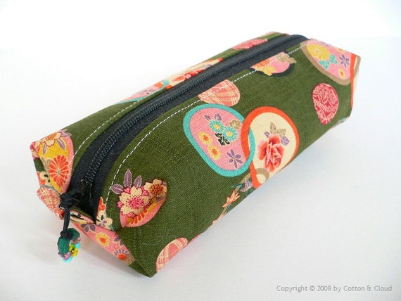 Pencil Zipper Pouch - Green Japanese Temari