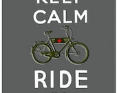 keep Calm and Ride On in Carbon Fiber- Large print