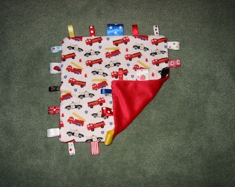 Baby / toddler super soft security taggie blanket - fire engines and police cars