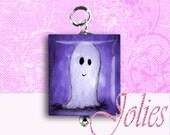 Scrabble Tile Pendant  Cute Ghost,  Halloween, All hallows eve