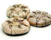 3 Fine Silver White Crackle Raku Ceramic Cabochons Supply Jewelry Handmade by MAKUstudio