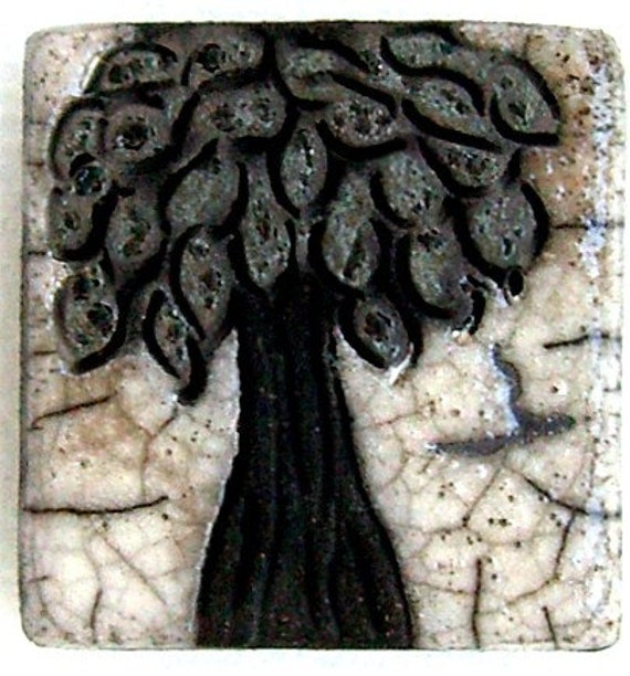 Raku Magnet...White Crackle and Shimmery Tree