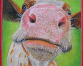 Nosy Cow Pastel Giclee Print