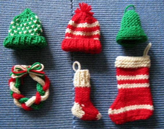 Hand Knitted Mini Christmas Ornaments Hats Wreath by SoManyWeeds