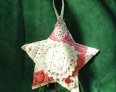 Repurposed Vintage Crazy Quilt, Holiday Ornament