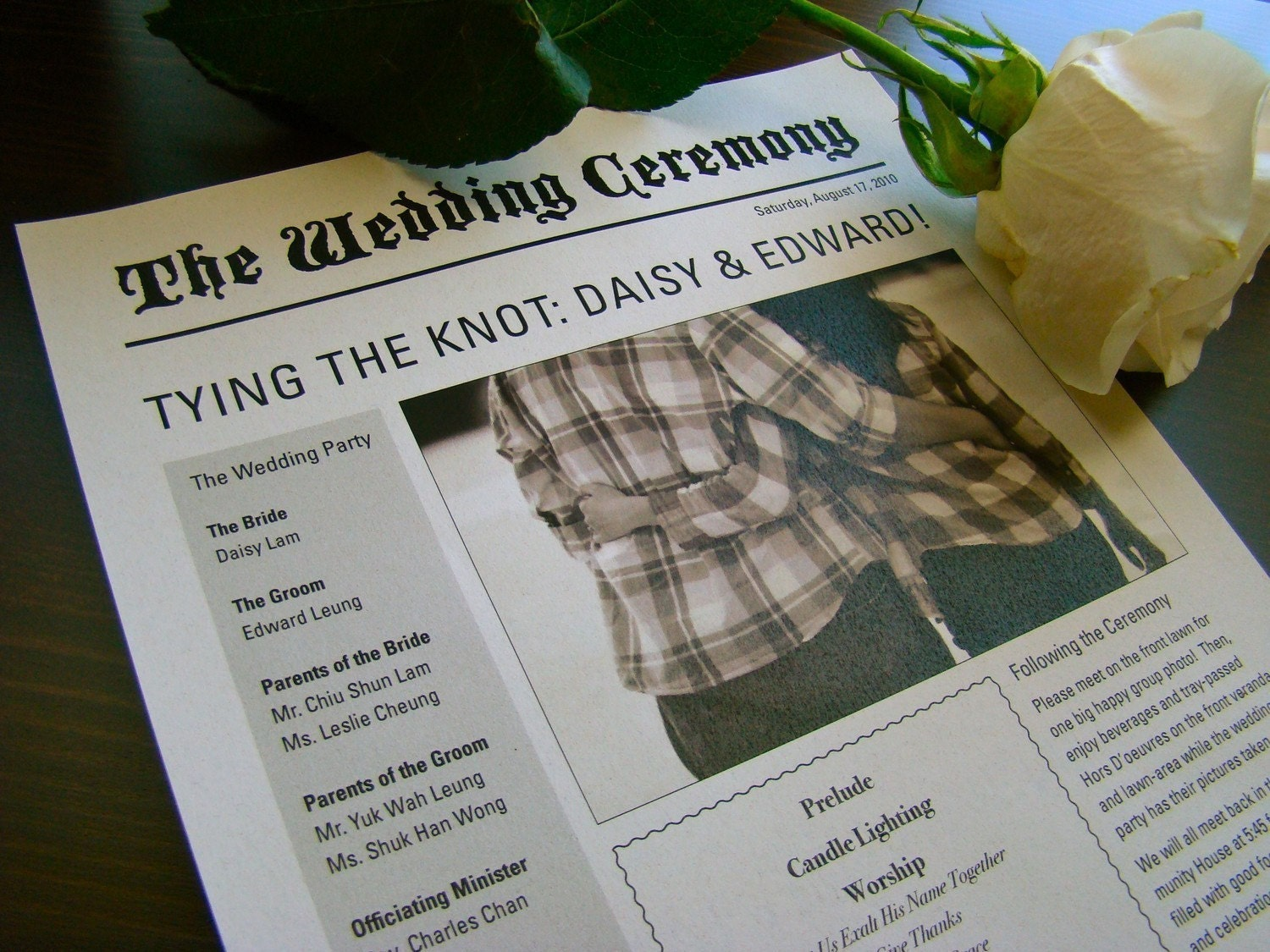 Newspaper Wedding Program Sample