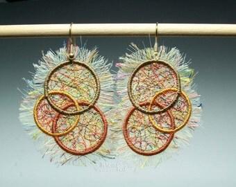 Triple Earthtone Embroidered Earrings