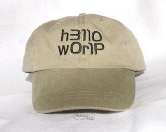Hello World Embroidered Cap