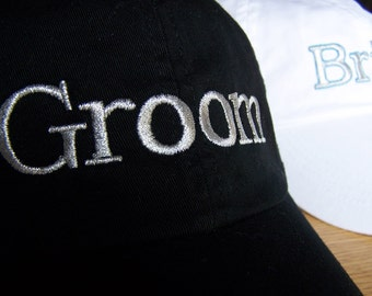 Custom Groom Cap (or Bride Cap) with Name Embroidered on Back