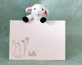 Letterpress Notecard Set - Hello Flower Bunny