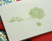 3 Love Birds - Screen  Print Note Cards