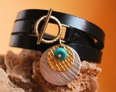 Skinny black leather Wrap Bracelet, handmade charms, turquoise