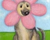SPRING Flower German Shepherd Dog ATC ACEO 2.5 x 3.5 inch Folk Mini Original Painting Lauren M. Davis Art