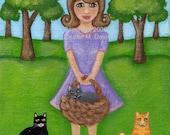 ON SALE Yay GIRL Lady Cat Primitive Kitty OOAK Mini 4x5 FLAT Canvas Board (CATS ARE A GALS BEST FRIEND) Original FOLK Painting Pet LAUREN M. DAVIS ART