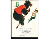 Pogo Stick Bear Childrens Vintage Illustration Notebook