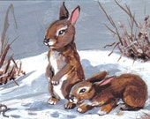 Original Miniature or Aceo Painting bunny rabbits
